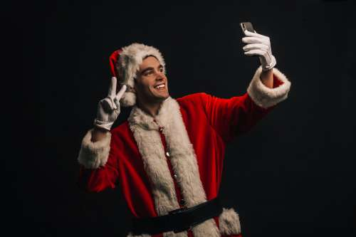 Selfie In Santa Costume Photo