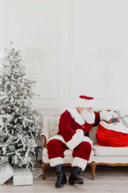 Santa On The Couch Photo