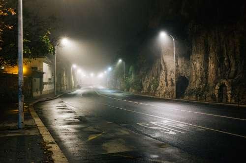 Deserted Foggy Road Photo