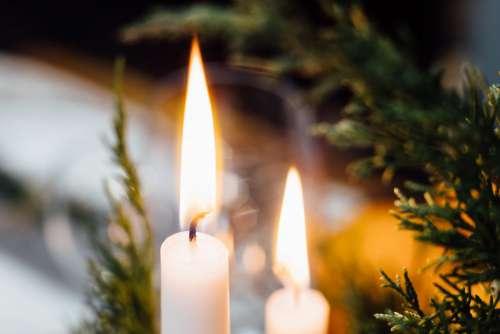 Burning candles closeup