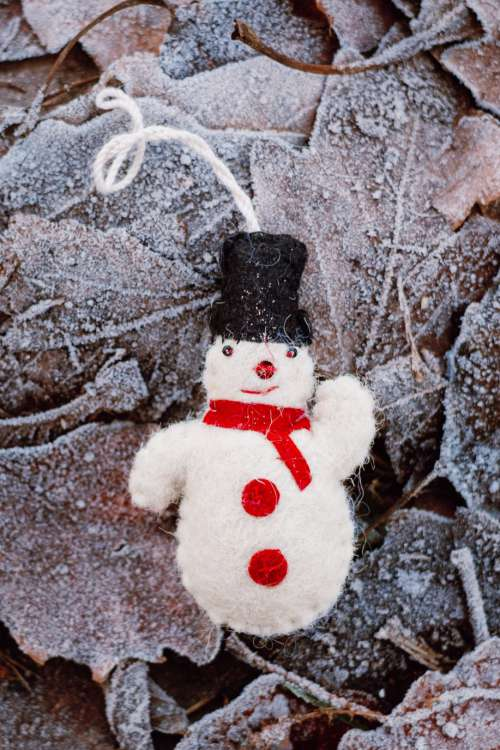 Felted snowman on frosted leaves