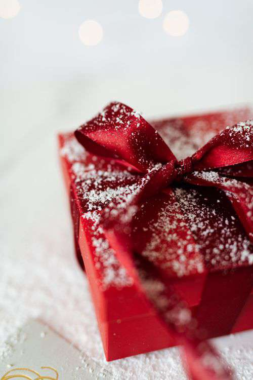 Red Christmas Gift and Empty Card