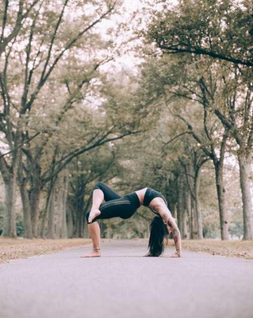Woman Yoga Outdoors Free Photo