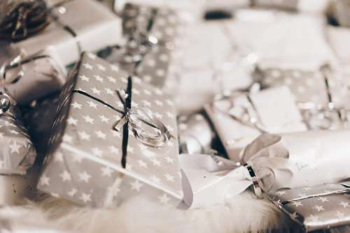 Silver Christmas Presents Free Photo
