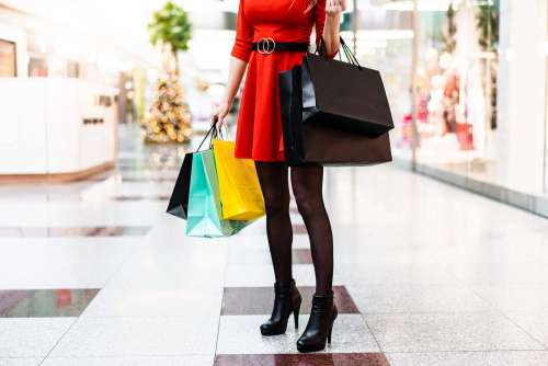 Young Lady After Christmas Shopping Free Photo