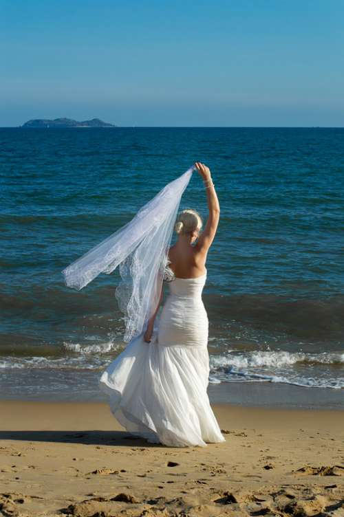 Blonde In Wedding Dress White Dress Sea