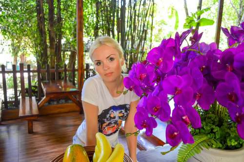 Blonde With Flowers Pink Flowers Beautiful Girl