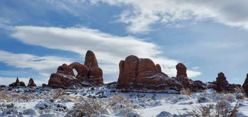 Moab Utah Arches National Park Snow In Moab