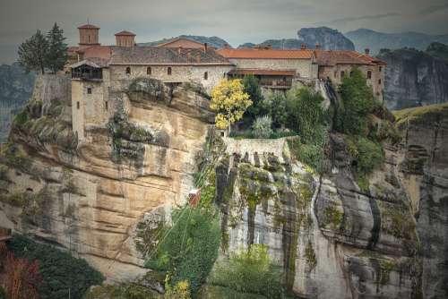 Meteora Greece Rocks Rock Landscape Tourism