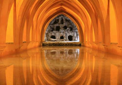 Alcazar Seville Andalusia Architecture Spain Water