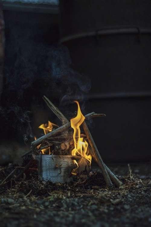 Fire Winter Fireplace Flame Warm Wood Hot Burn