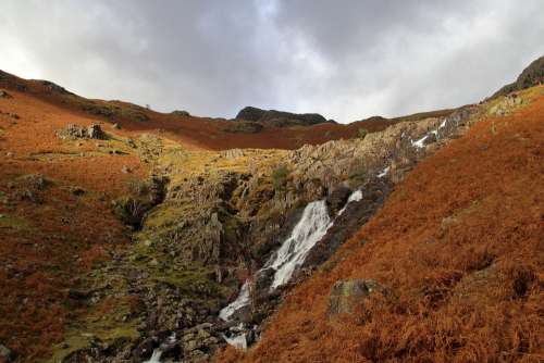 Waterfall Cumbria Lake District England Stream