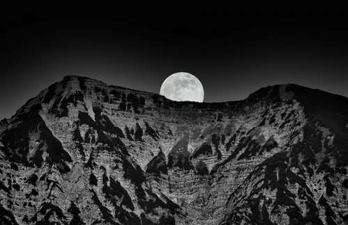 Landscape Nature Mountains Black And White Moon