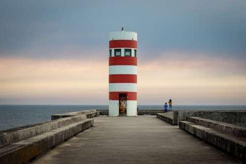 Lighthouse Porto Portugal Sea Water Sky Landscape