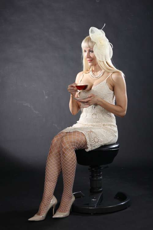 Girl Model Tea Portrait Woman Cup White Hair