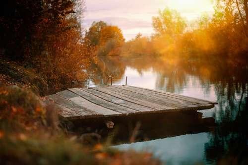 Lake Web Autumn Boardwalk Water Nature Atmosphere