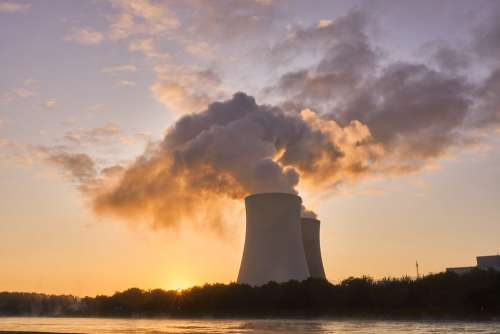 Nuclear Power Plant Cooling Tower Sunrise Mood