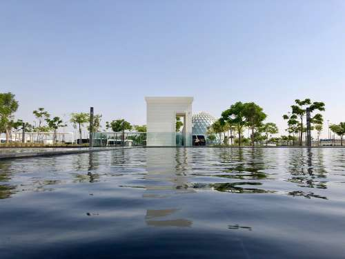 Water Sky Mosque Abu Dhabi Uae Reflection White