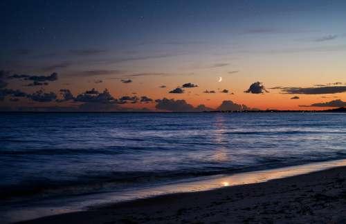 Beach Sand Sea Lake Water Dusk Twilight