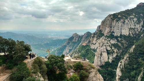 Montserrat Mountains Panorama Rock Travel Spain