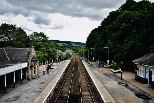 Railroad Tracks Train Station Travel Transport