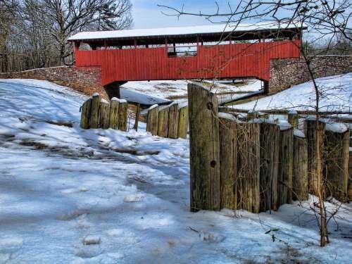 Covered Bridge Snow Winter Park Cold Scenic Creek
