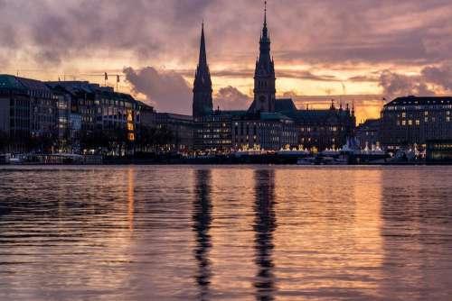 Hamburg Alster Sunset Burning Sky Atmospheric