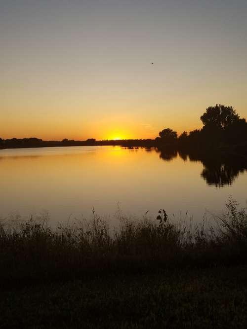 Sunset Lake Water Sky Nature Reflection Evening