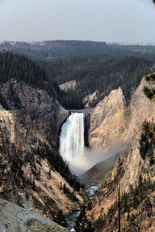 Yellowstone Waterfall Landscape Canyon Wyoming
