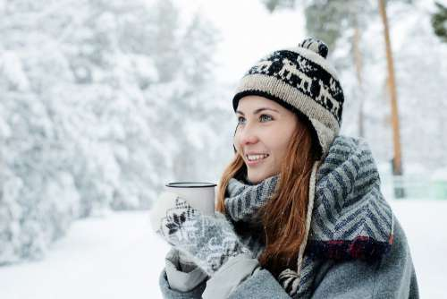 Girl Young Beautiful White Woman Snow Winter
