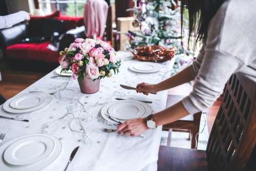Table Preparing Set Christmas Holidays Woman Girl