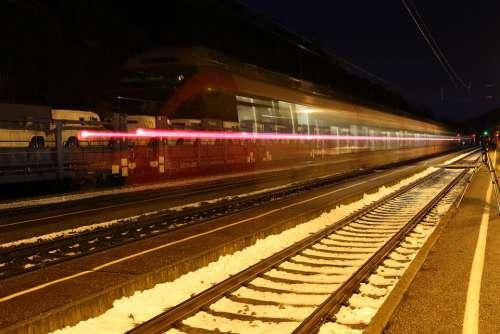 Railway Rails Gleise Rail Traffic Long Exposure