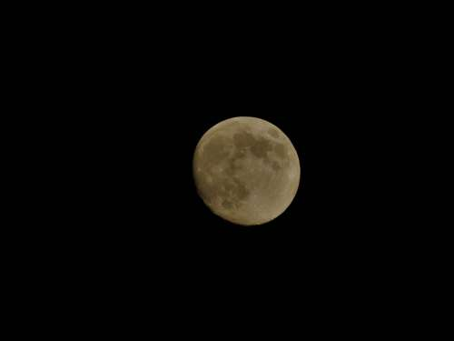 Yellow Moon Up To Space Atmosphere Night