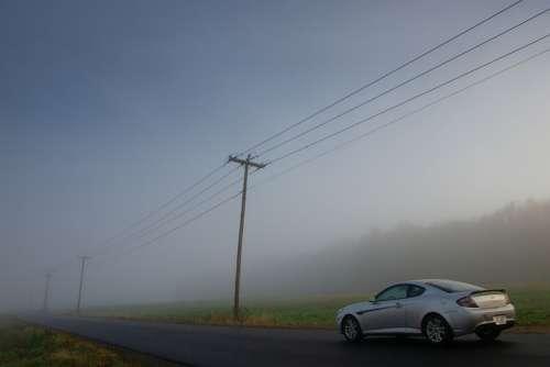 Countryside Power Lines Car Landscape Farmland