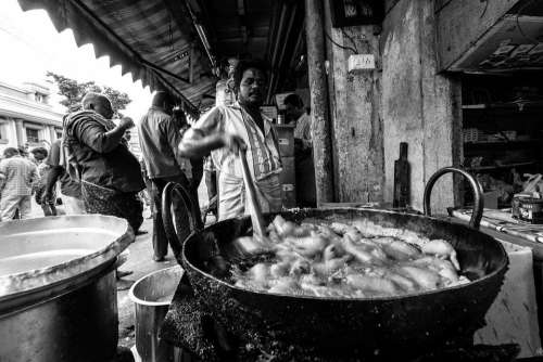 India Street Black And White People Street Food