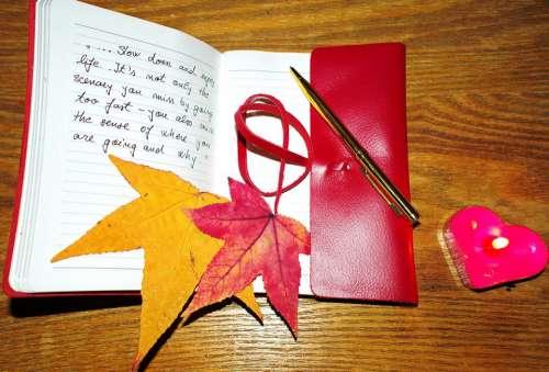 Enjoy Life Notebook Pen Candle Love Contemplation