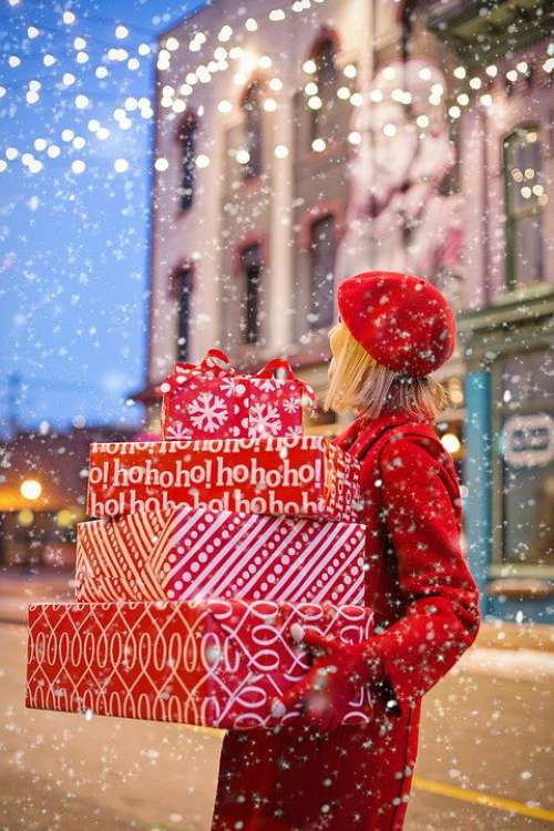 Christmas Presents Gifts Carrying Woman Holiday