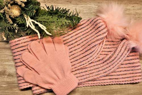Pink Winter Scarf And Gloves
