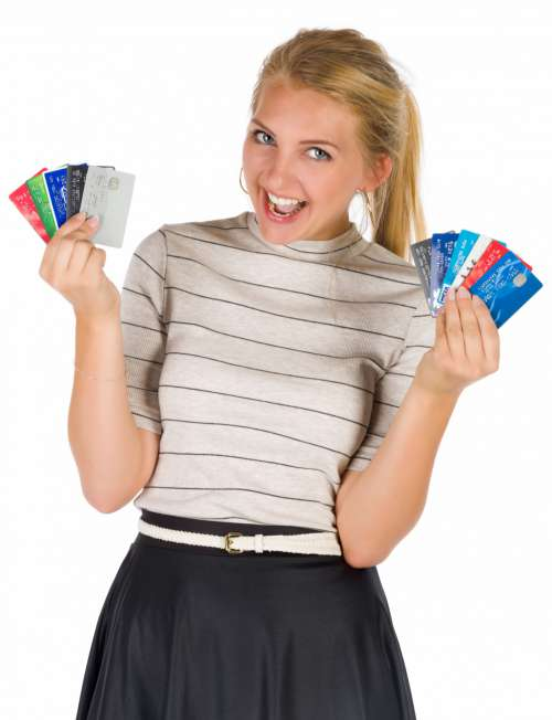 Woman With Many Credit Cards