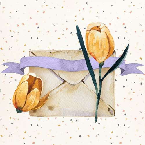 Vintage Envelope With Tulips
