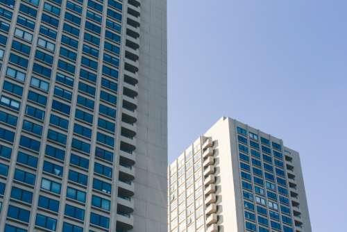 city windows sky downtown urban