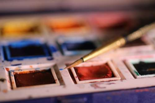 paintbrushes color bright messy palette