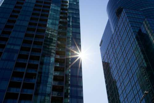 sun city building tall glass