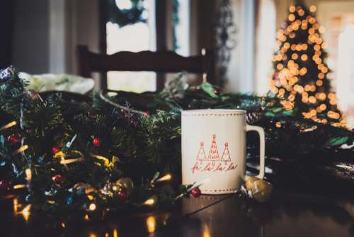 christmas background tree coffee mug