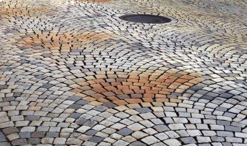 cobblestone street texture road sidewalk