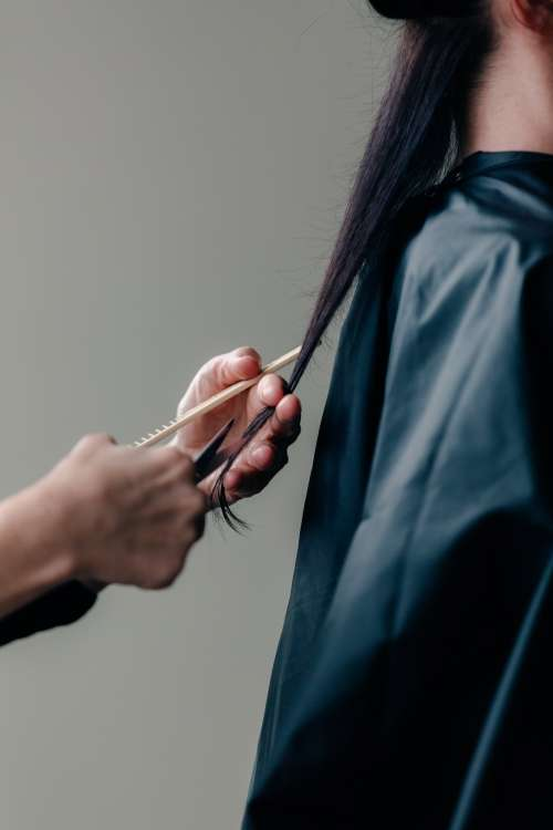 Stylist Cuts Woman's Long Hair Photo