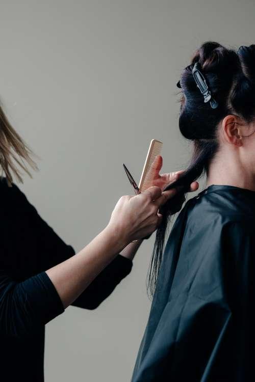 Stylist Cuts A Woman's Hair Photo