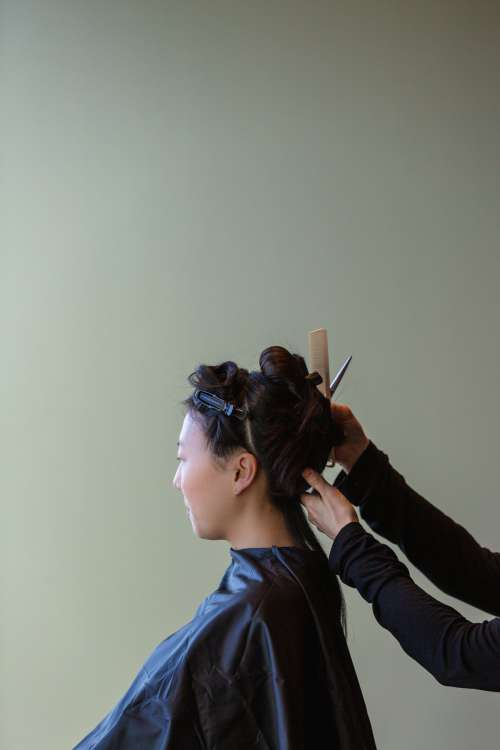 Client Gets Hair Styled Photo