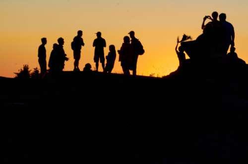 People Mountain Silhouette Free Photo