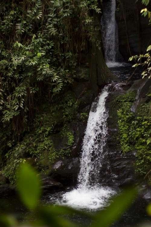 Waterfalls Nature Green